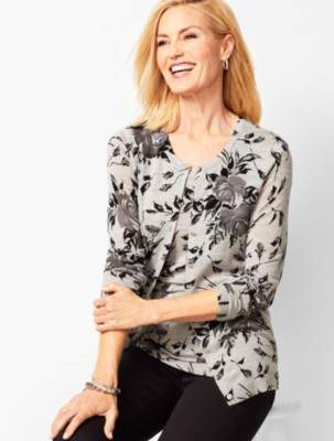 Talbots Floral Charming Cardigan