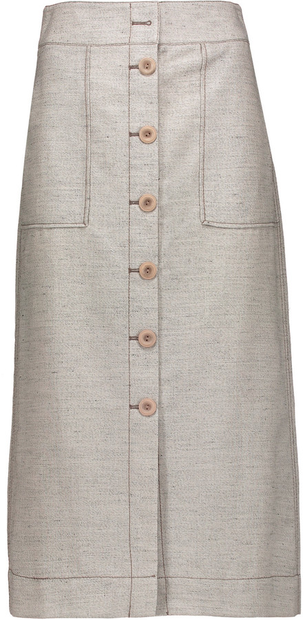 3.1 Phillip Lim3.1 Phillip Lim Wool and linen-blend midi skirt