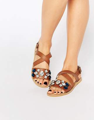 Carvela Best Embellished Leather Flat Sandals