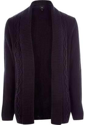 River Island Mens Navy cable knit regular fit cardigan