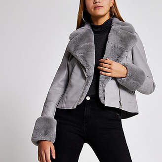 River Island Grey faux fur cuff quilted biker jacket