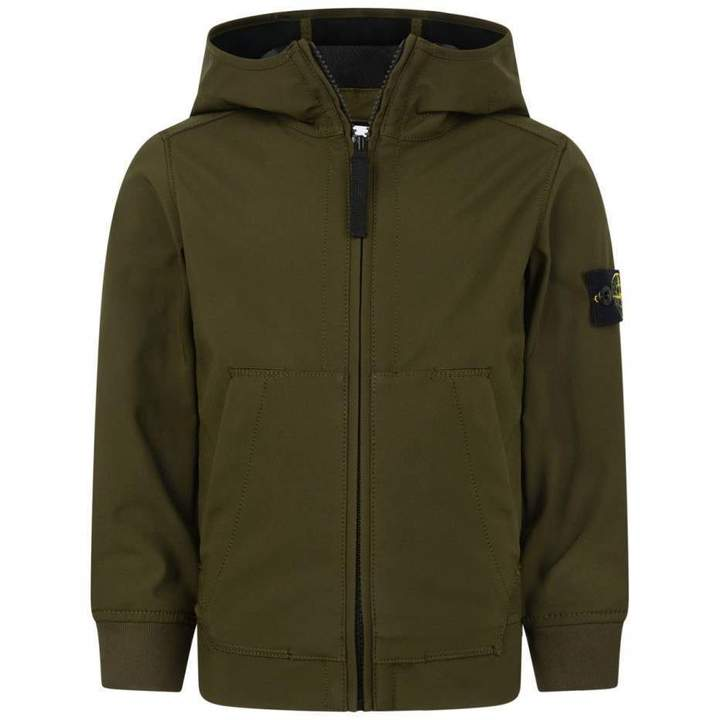 Stone IslandBoys Khaki Neoprene Hooded Jacket