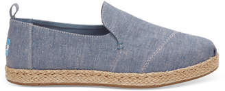 Toms Blue Slub Chambray Womens Deconstructed Alpargatas