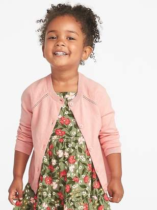 Old Navy Button-Front Crew-Neck Cardi for Toddler Girls