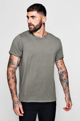 boohoo Muscle Fit T-Shirt With Roll Sleeves