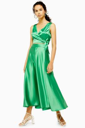 Topshop Green Satin Full Circle Skirt