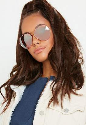 Missguided Rose Gold Glam Aviator Sunglasses