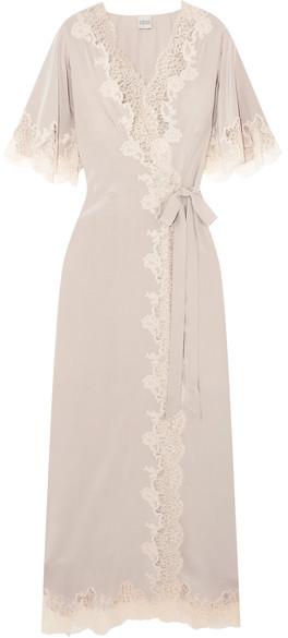 Carine GilsonCarine Gilson - Déshabillé Chantilly Lace-trimmed Silk-satin Robe - Taupe