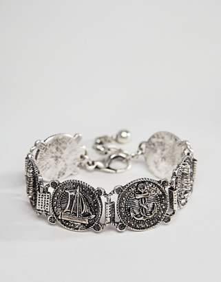 Asos DESIGN vintage style nautical bracelet in burnished silver tone