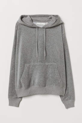 H&M Velour Hooded Top - Gray