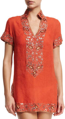 Flora Bella Viceroy Beaded Linen Short Coverup Tunic, Sunrise