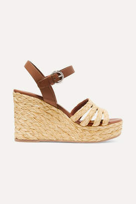 Prada Leather And Woven Raffia Espadrille Wedge Sandals