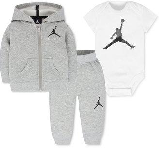Jordan Baby Boys' 3-Pc. Air Fleece Hoodie, Bodysuit & Pants Set $65 thestylecure.com
