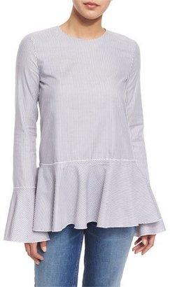 Theory Lexanda Mason Bell-Sleeve Peplum Top, Blue/White $265 thestylecure.com