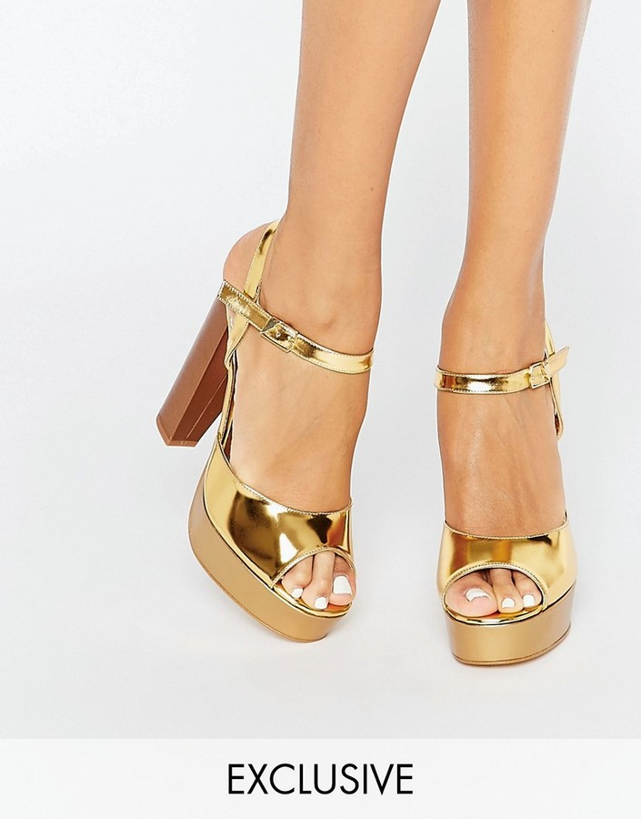 Terry de Havilland Coco Gold Glitter Platform Heeled Sandals