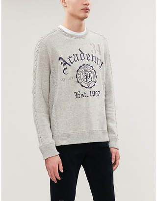 Polo Ralph Lauren Academy-print cable-knit panel stretch-jersey and cotton sweatshirt