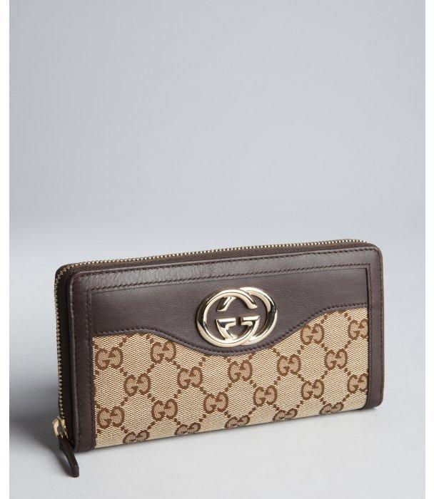 Gucci dark brown GG canvas logo zip continental wallet