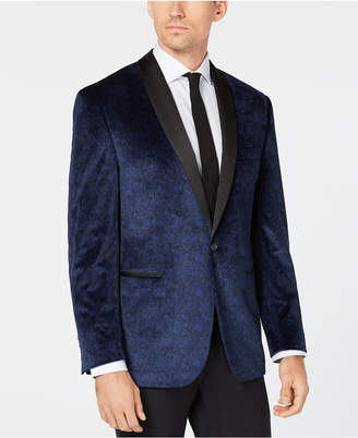 Ryan Seacrest Distinction Men Modern-Fit Blue Velvet Paisley Print Dinner Jacket