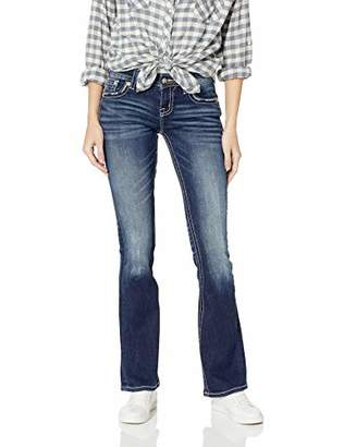 Miss Me Junior's Distressed Floral Mid-Rise Boot Cut Jeans