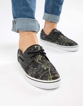 Asos DESIGN Boat Shoes In Black Floral Vacation Print