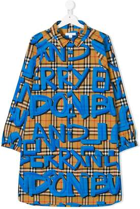 Burberry TEEN long-sleeve check dress