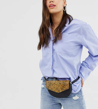 Accessorize (アクセサライズ) - Accessorize black leather belt fanny pack with leopard print front flap