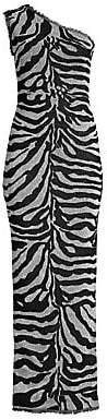 Herve Leger Women's One-Shoulder Metallic Zebra Column Gown