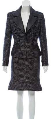 Chanel Leather-Trimmed Tweed Skirt Suit