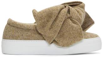 Joshua Sanders Beige Lurex Bow Sneakers