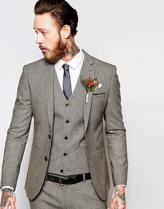 Asos Design Wedding Super Skinny Suit Jacket In Brown Dogstooth