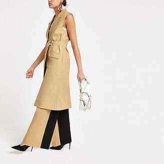 River Island Light brown sleeveless trench coat