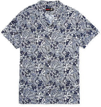 Jf J.Ferrar Jf Casualization Short Sleeve Camp Shirt-Slim