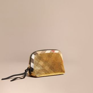 Burberry Medium Zip-top Sequined House Check Pouch $285 thestylecure.com