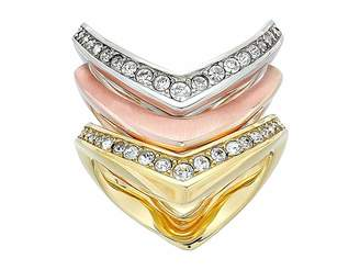 Michael Kors Tone and Crystal Stacked Ring Set