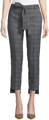 Laundry by Shelli Segal Brixton Plaid Belted Step-Hem Pants