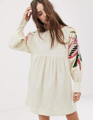 Free People Mini Obsessions embroidered mutton sleeve dress
