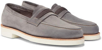 John Lobb Tore Suede Penny Loafers - Gray