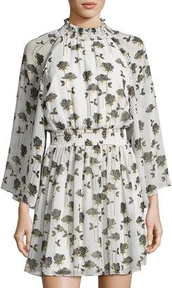 RACHEL Rachel Roy Smocked-Trim Floral-Print Dress, Neutral Pattern $89 thestylecure.com