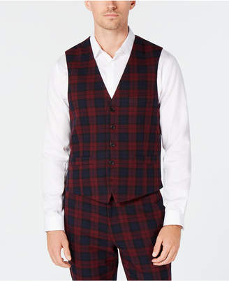 INC International Concepts I.n.c. Men's Slim-Fit Stretch Tartan Suit Vest, Created for Macy's