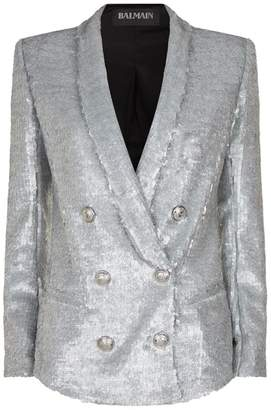 Balmain Longline Double-Breasted Sequin Blazer