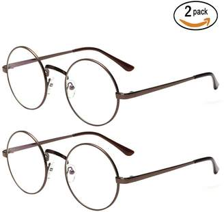a7f8575ce3c clear Scorpiuse 2 Pack Women s Round Circel Lens Glasses Metal Frame  Eyeglasses (
