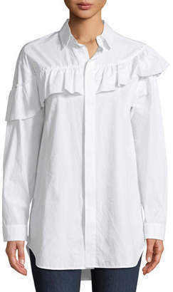 RED Valentino Asymmetric-Ruffle Long-Sleeve Poplin Blouse