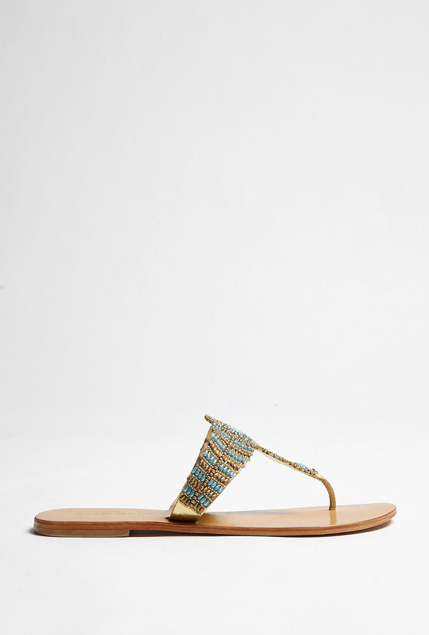 Star Mela Mali Turquoise And Gold Embellished Flat Sandals