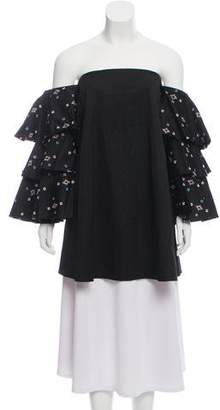 Caroline Constas Embroidered Cold-Shoulder Top