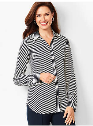 Talbots Soft Cutaway Blouse - Stripe