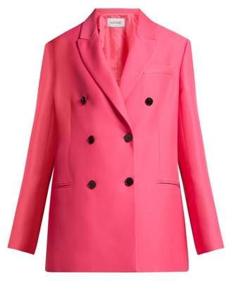 Valentino Silk Blend Double Breasted Blazer - Womens - Pink