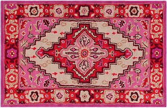 One Kings Lane Zad Rug - Red Pink/ Ivory