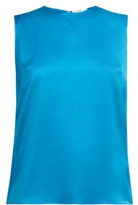 Roksanda Kobe Silk Satin Top - Womens - Blue