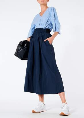Tibi Heavy Nylon Shirred Waistband Full Skirt