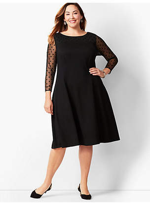 Talbots Mesh-Dot Ponte Fit and Flare Dress